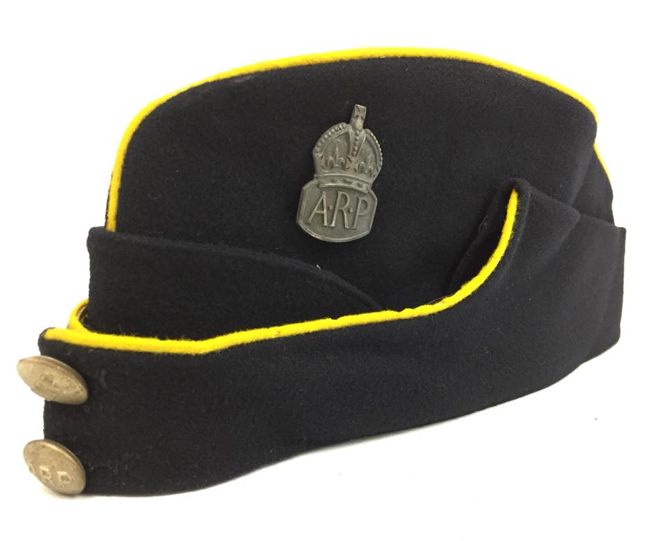 WW2 ARP Civil Defence Dark Wool Side Cap with Yellow Piping (probably for  an officer). a6412fdb8