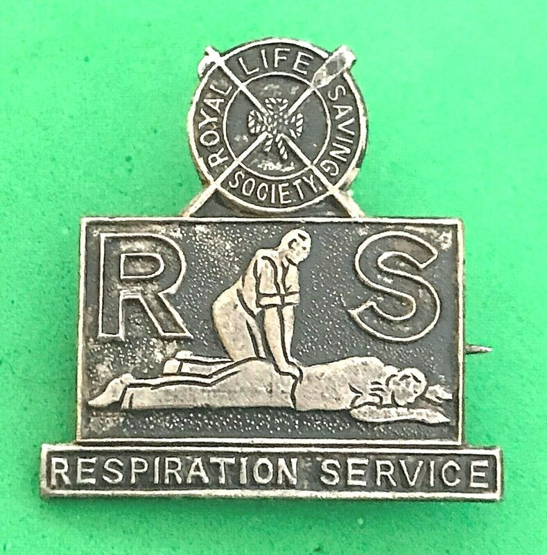 Oxidised Metal Royal Life Saving Society Respiration Service pin badge for wear on civilian clothing