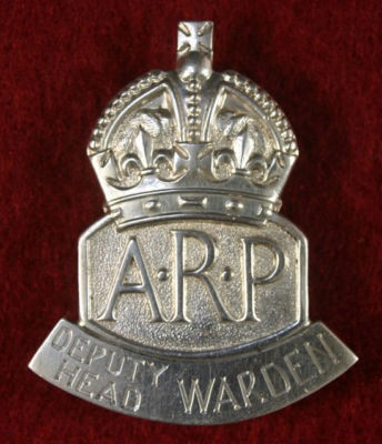 WW2 ARP Deputy Head Warden Lapel Badge.