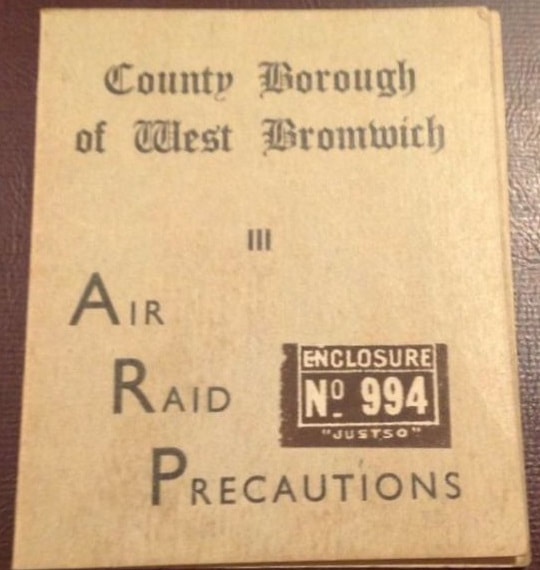 WW2 West Bromwich ARP Control Room Permit Card (cover)