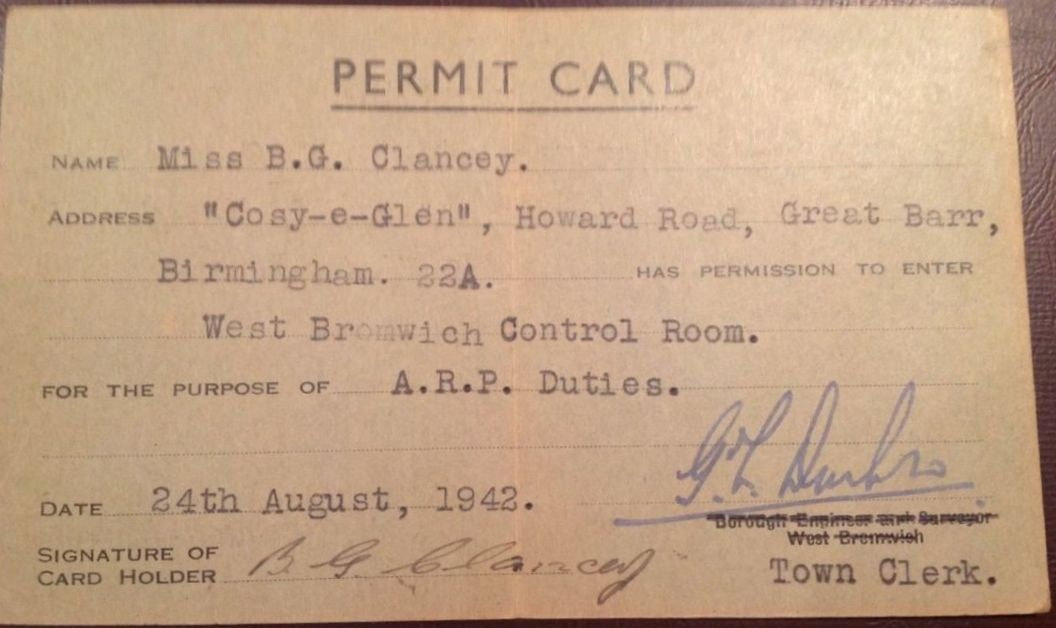 WW2 West Bromwich ARP Control Room Permit Card (details)
