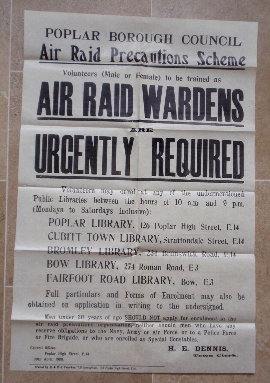 1938 Air Raid Warden Recruitment Poster, Poplar, London