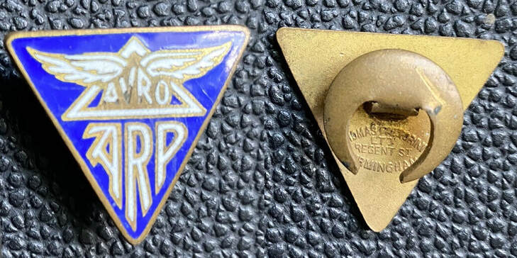 Genuine original WW2 AVRO ARP badge with correct buttonhole fitting and maker's mark