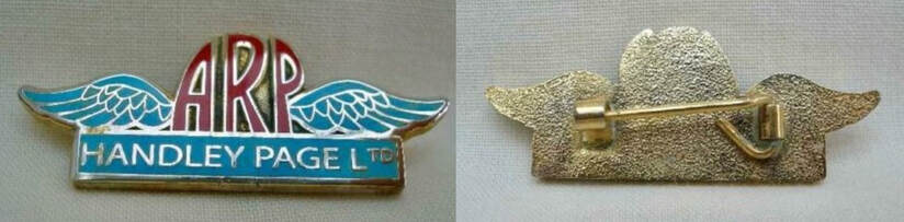 Unstained fake WW2 Handley Page ARP enamel badge