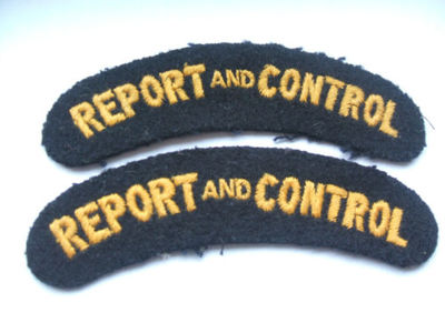 WW2 Civil Defence Report And Control Shoulder Title (Embroidered)
