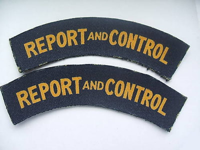 WW2 Civil Defence Report And Control Shoulder Title (Printed)