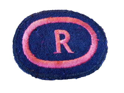 Rescue 'R' Badge Made From an ARP Breast Badge (front).