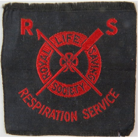 WW2 Woven Royal Life Saving Society Respiration Service badge for wear on Civil Defence uniforms