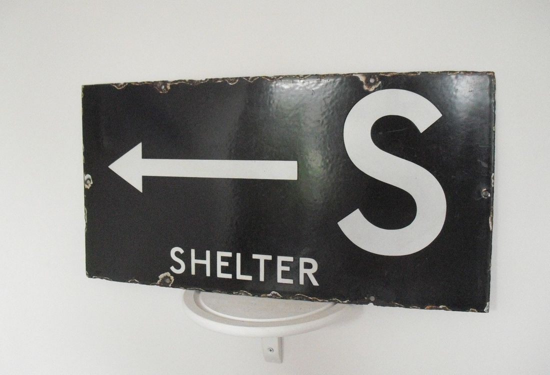 Black Enamel WW2 ARP Shelter Sign