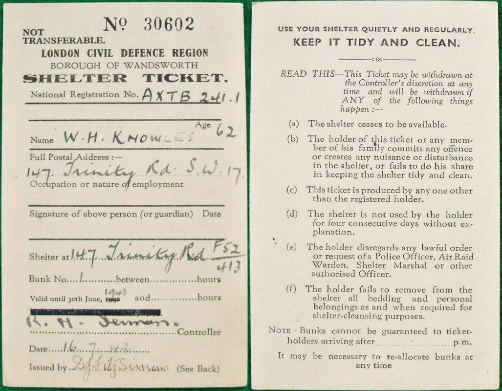 WW2 Borough Of Wandsworth ARP Shelter Ticket