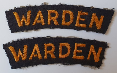 Embroidered Civil Defence ARP Warden Shoulder Titles