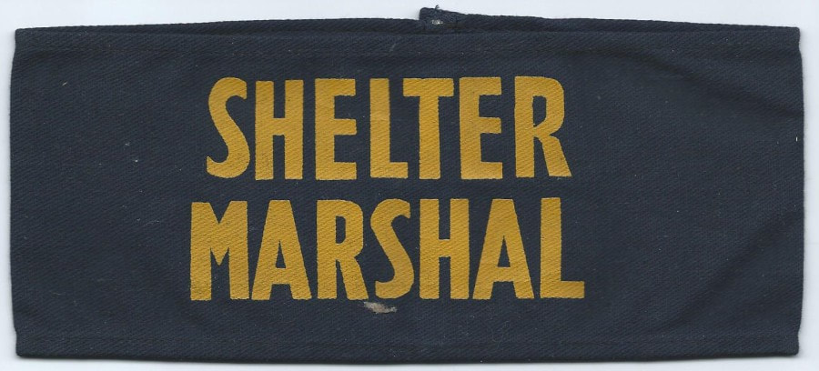 WW2 Shelter Marshal Armband - Yellow on Blue.