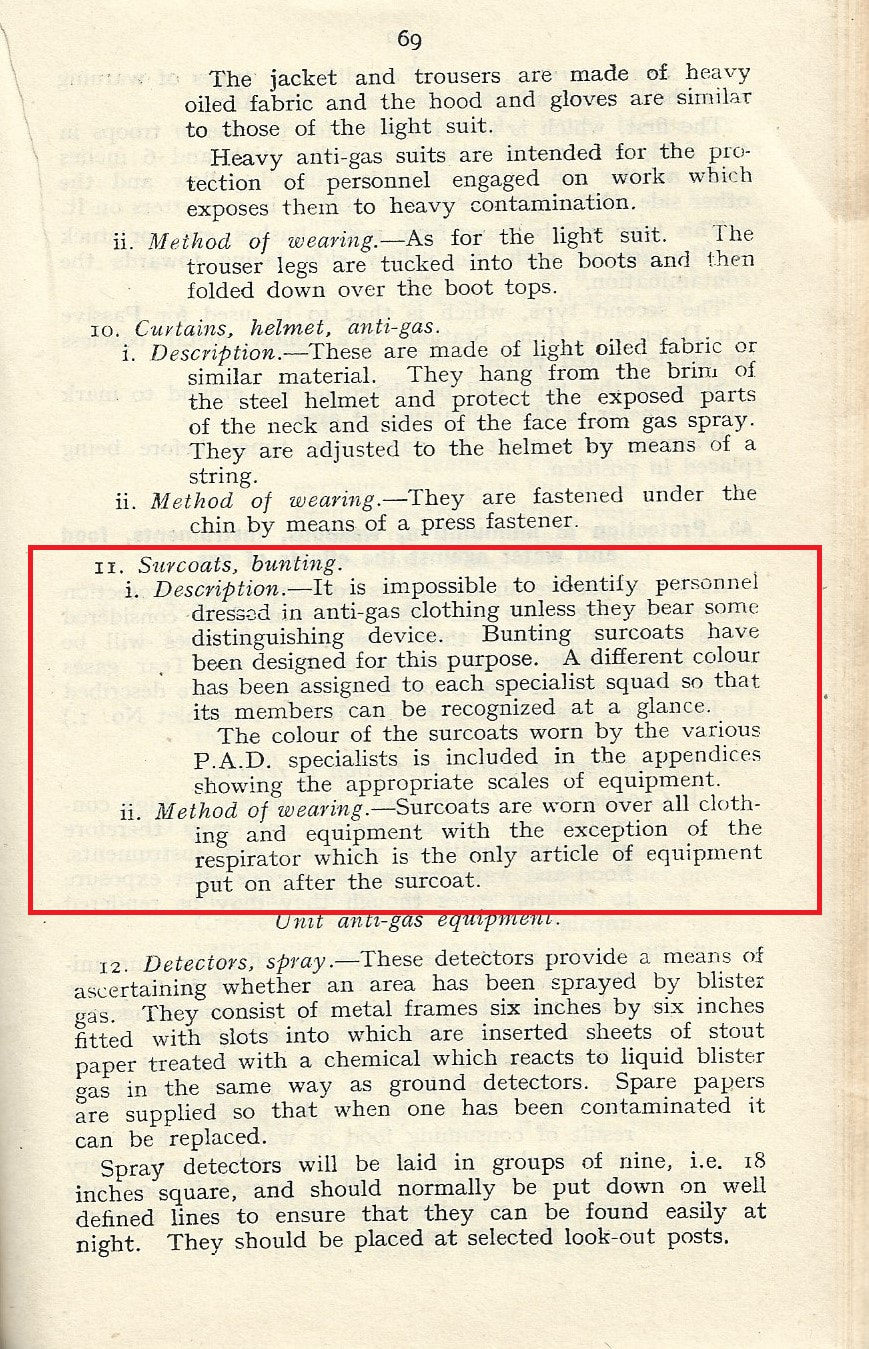 Passive Air Defence pamphlet 1939 - information on coloured surcoats for recognition within the Civil Defence & ARP services