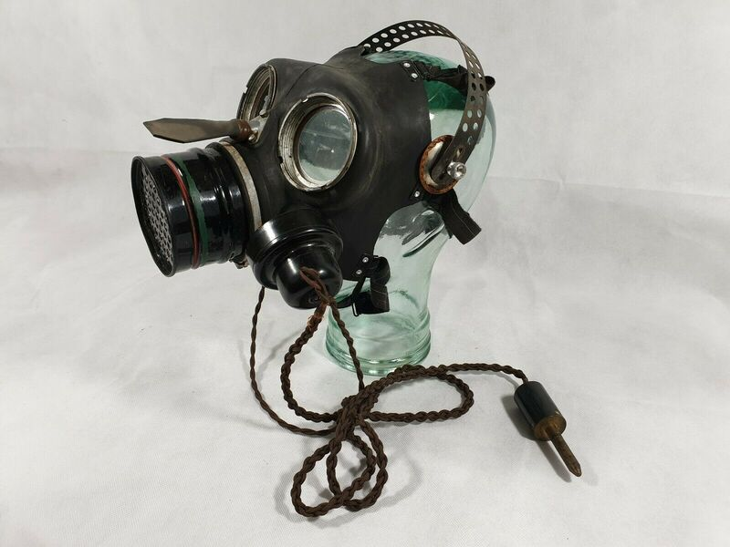 WW2 Telephone Exchange Operator Gas Mask with Microphone