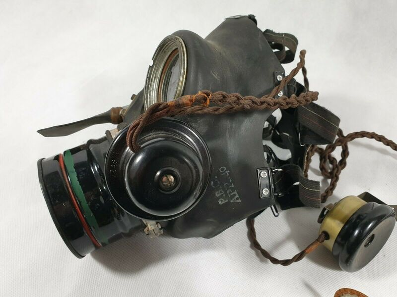 WW2 Telephone Exchange Operator Gas Mask Microphone Close Up
