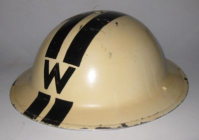 White ARP Chief Warden's helmet with black 'W' and double black stripe