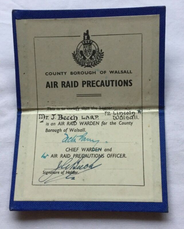 WW2 Walsall ARP Appointment Card