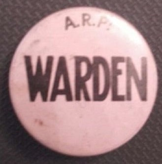 Celluloid A.R.P. Warden Pin Button Badge.
