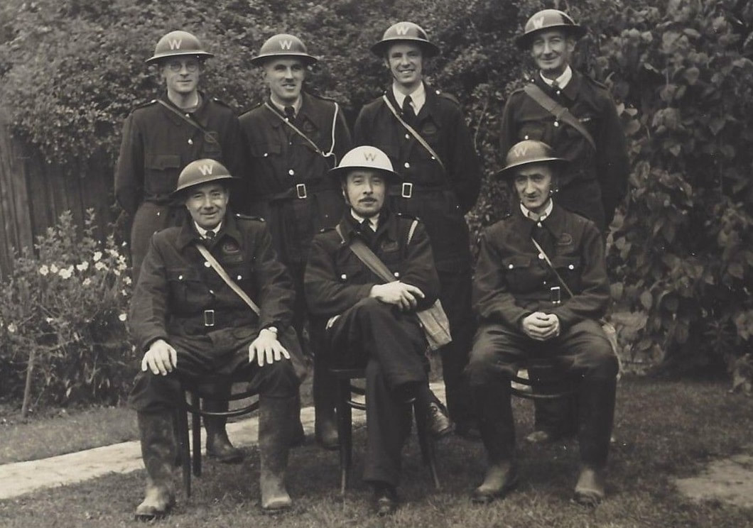 Early WW2 Group Photo Of ARP Wardens In Bluette Overalls