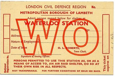 WW2 London Civil Defence Region ARP Shelter Access Form (front)