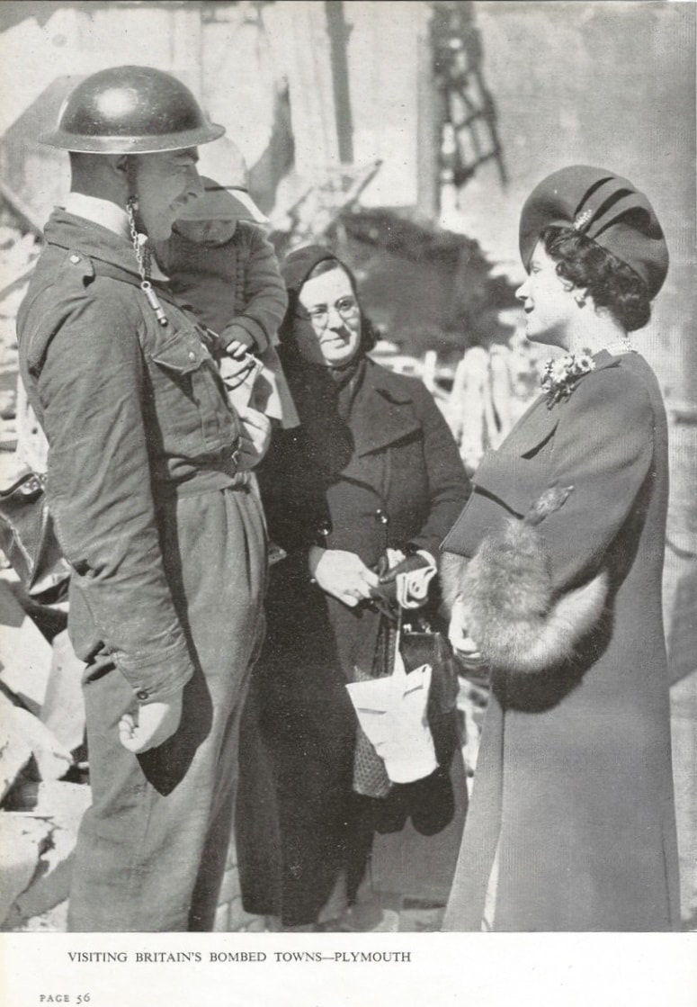 The royal family visiting Plymouth after an air raid. Note the way the warden has attached his whistle to his helmet's chin strap.