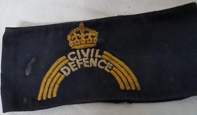 WW2 Civil Defence armband with white lettering.