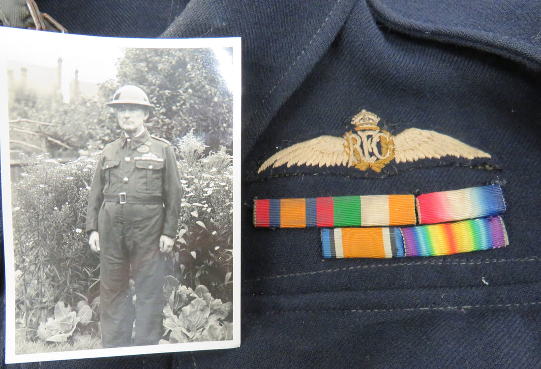 Royal Flying Corps (RFC) wings on WW2 warden's battledress and photo of wings on bluette overalls