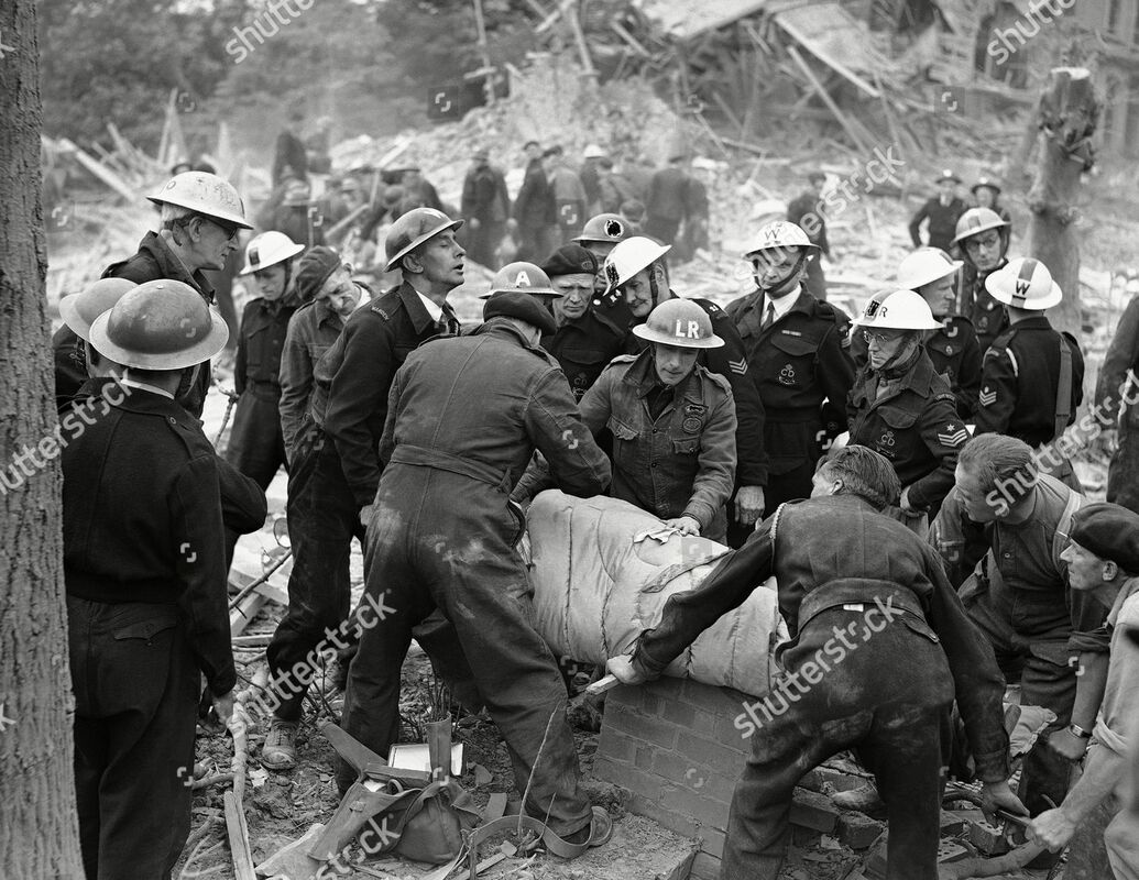 ARP Rescue Workers Retrieve Victim From V1 Incident July 1944